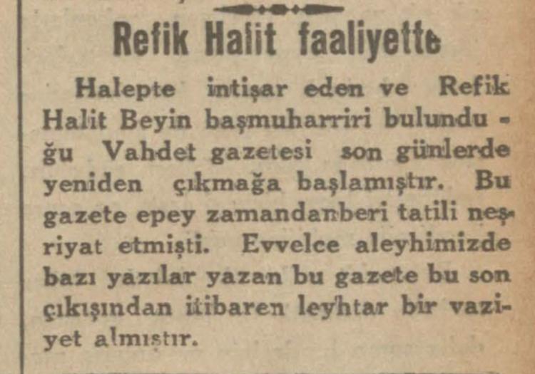 Refik Halit'in yeniden faaliyete geçen gazetesi: Vahdet