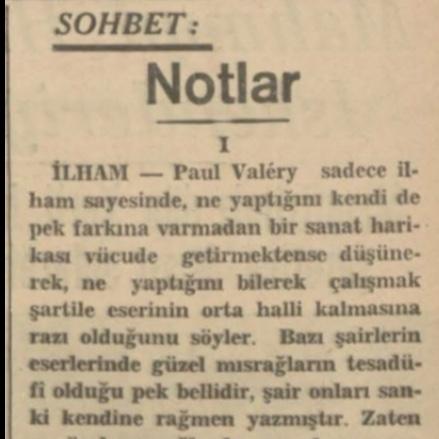"""Nurullah Ataç'ın """"Notlar"""" başlıklı yazısı"""