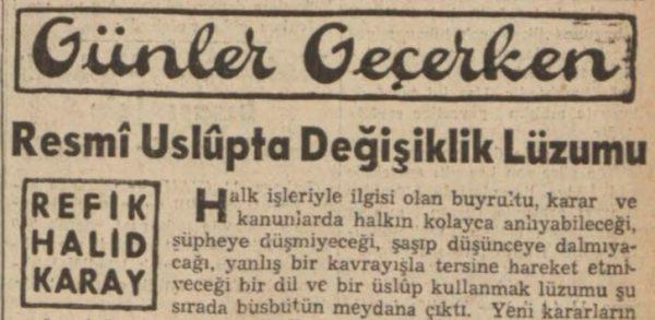 """Refik Halit'in """"Resmi üslupta değişiklik lüzumu"""" başlıklı yazısı"""