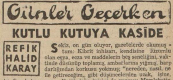 """Refik Halit'in """"Kutlu kutuya kaside"""" başlıklı yazısı"""