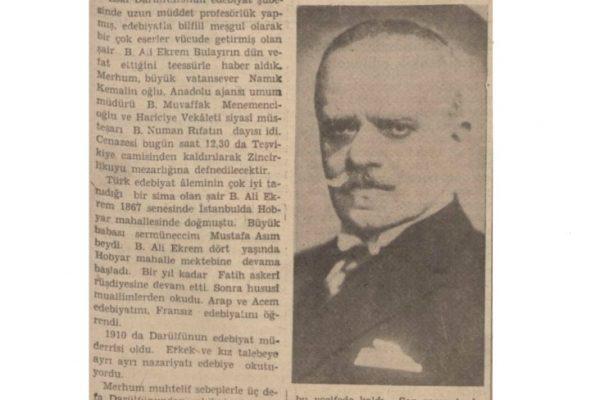 """28 Ağustos 1937: """"Şair Ali Ekrem Bolayır dün vefat etti"""""""