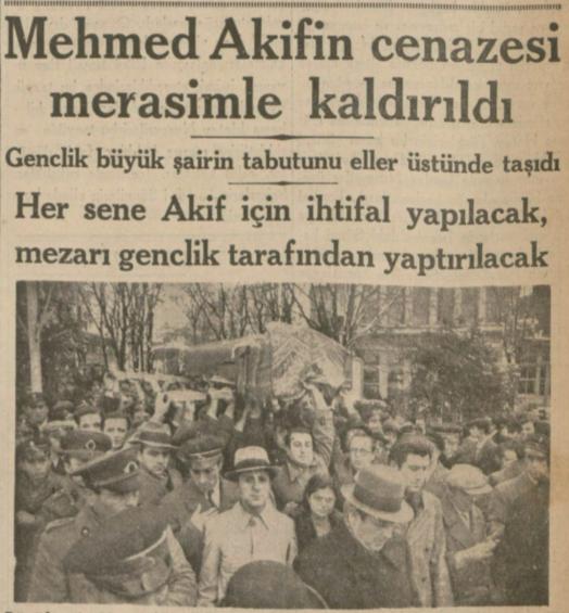 """29 Aralık 1936: """"Mehmet Akif'in cenazesi merasimle kaldırıldı"""""""