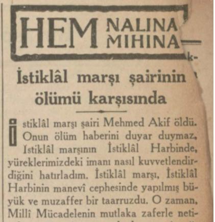"""29 Aralık 1936: """"İstiklal Marşı Şairi'nin ölümü karşısında"""""""