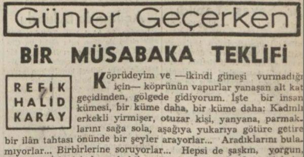 """Refik Halit'in """"Bir müsabaka teklifi"""" başlıklı yazısı"""
