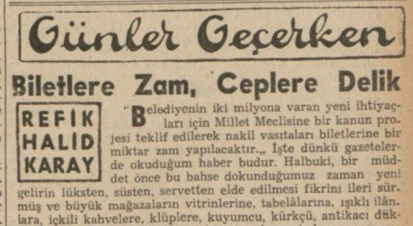 """Refik Halit'in """"Biletlere zam, ceplere delik"""" başlıklı yazısı"""
