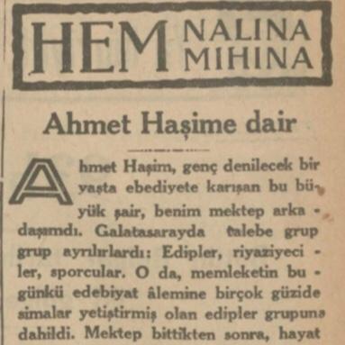 """7 Haziran 1933: """"Ahmet Haşim'e dair"""""""
