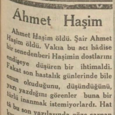 Mehmet Asım'ın Ahmet Haşim'in ölümü ardından yazdıkları