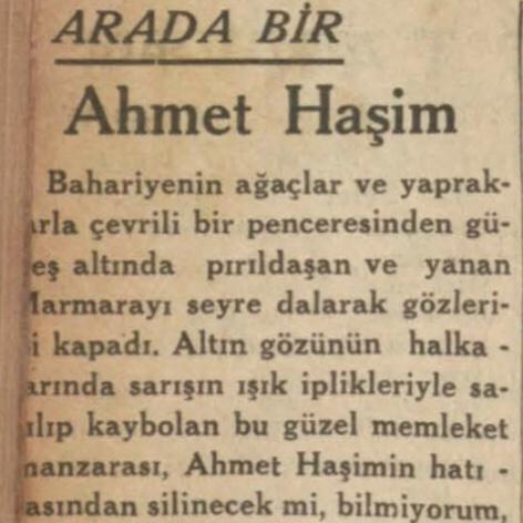 Refik Ahmet'in Ahmet Haşim'in ölümü ardından yazdıkları