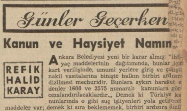 """Refik Halit'in """"Kanun ve haysiyet namına"""" başlıklı yazısı"""