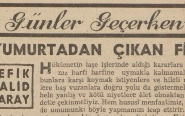 """Refik Halit'in """"Yumurtadan çıkan fil"""" başlıklı yazısı"""