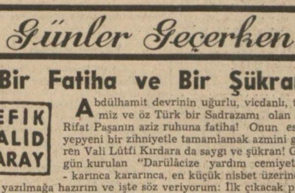 """Refik Halit'in """"Bir Fatiha ve bir şükran"""" başlıklı yazısı"""