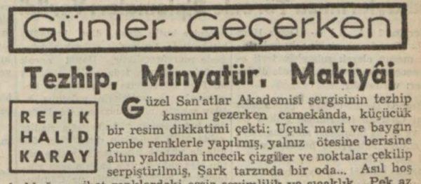 """Refik Halit'in """"Tezhip, minyatür, makyaj"""" başlıklı yazısı"""