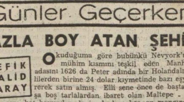 """Refik Halit'in """"Fazla boy atan şehir"""" başlıklı yazısı"""