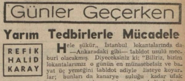 """Refik Halit'in """"Yarım tedbirlerle mücadele"""" başlıklı yazısı"""