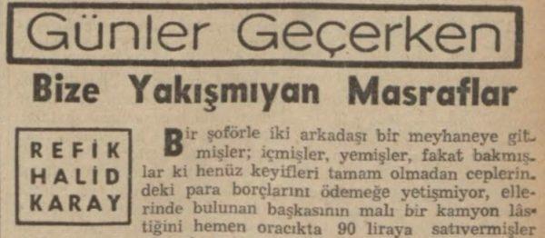 """Refik Halit'in """"Bize yakışmayan masraflar"""" başlıklı yazısı"""