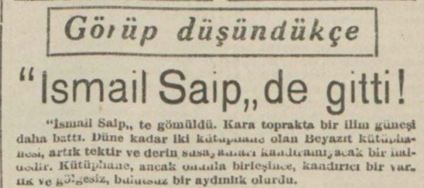 """25 Mart 1940: """"İsmail Saip de gitti"""""""
