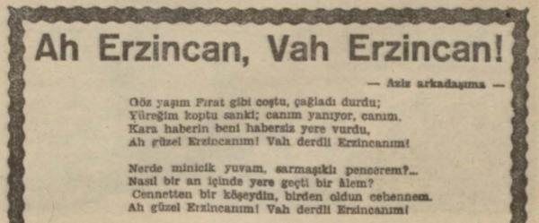 "Halide Nusret Zorlutuna'nın ""Ah Erzincan, Vah Erzincan"" adlı şiiri"
