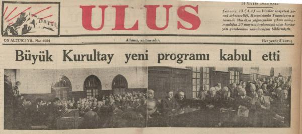 Dil Devrimini Takiben Başlayan Kılavuz Kelimeler Uygulaması: Ulus Gazetesi, 14 Mayıs 1935