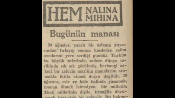 "30 Ağustos 1941: ""Bugünün manası"""