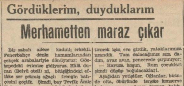 """Sermet Muhtar'ın """"Merhametten maraz çıkar"""" başlıklı yazısı"""