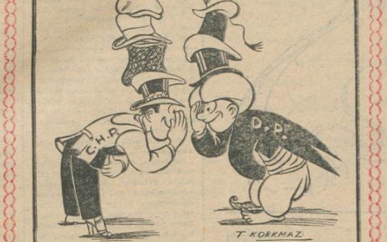 """8 Mayıs 1948: """"CHP ve DP'nin Hâli"""" Başlıklı Karikatür"""