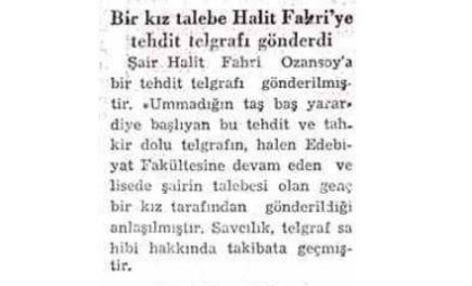 """3 Haziran 1950: """"Bir kız talebe Halit Fahri'ye tehdit telgrafı gönderdi"""""""
