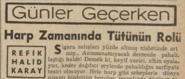 """Refik Halit'in """"Harp zamanında tütünün rolü"""" başlıklı yazısı"""