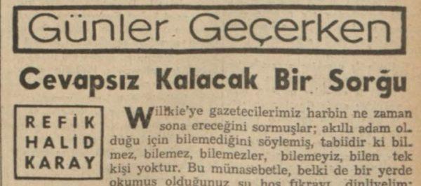 """Refik Halit'in """"Cevapsız kalacak bir sorgu"""" başlıklı yazısı"""