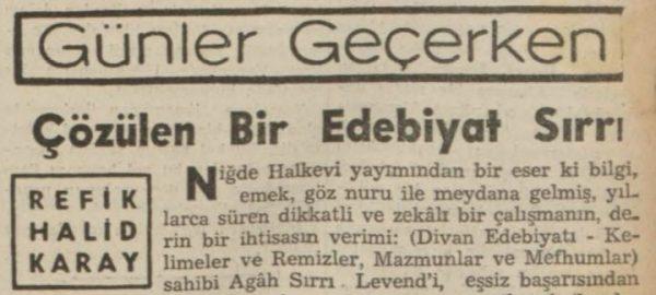 """Refik Halit'in """"Çözülen bir edebiyat sırrı"""" başlıklı yazısı"""