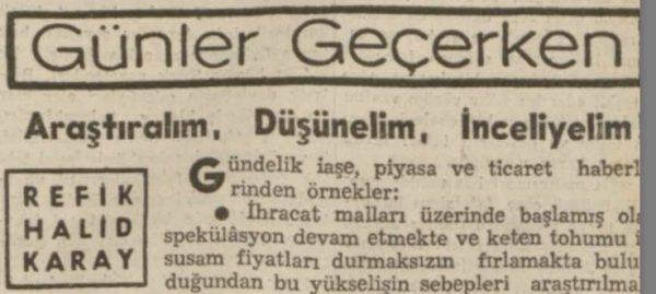 """Refik Halit'in """"Araştıralım, düşünelim, inceliyelim"""" başlıklı yazısı"""