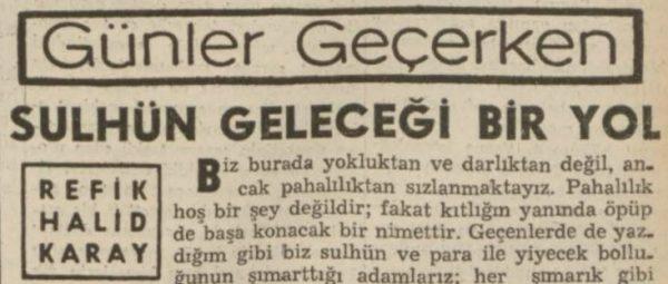 """Refik Halit'in """"Sulhün geleceği bir yol"""" başlıklı yazısı"""