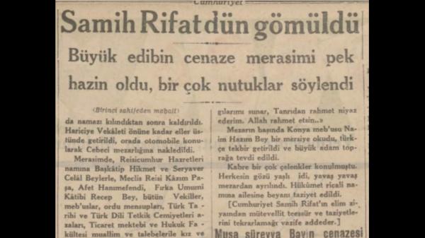 """5 Aralık 1932: """"Samih Rıfat dün gömüldü"""""""
