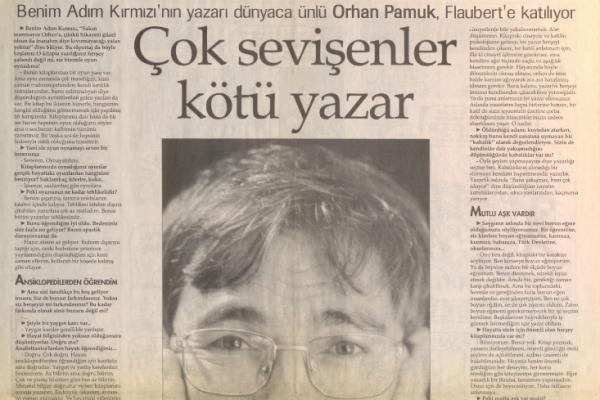 """20 Aralık 1998 tarihli Orhan Pamuk röportajı: """"Çok sevişenler kötü yazar"""""""