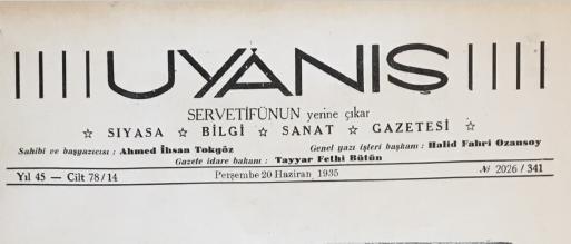 TurkishLiterature.net Koleksiyonu: Uyanış Dergisi, 20 Haziran 1935, Yıl: 45, Cilt: 78/14, No: 2026/341