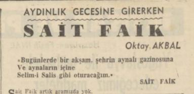 Oktay Akbal'ın Sait Faik'in Ölümü Ardından Yazdığı Köşe Yazısı