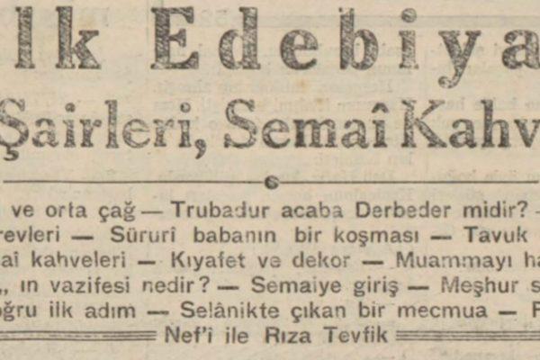 """Refii Cevat'ın """"Halk edebiyatı, saz şairleri, semai kahveleri"""" başlıklı yazısı"""