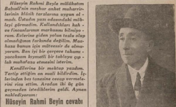 """""""30 güzide arasında bir anket: 1″ Cevat Fehmi Başkut'un Hüseyin Rahmi Gürpınar ile Röportajı"""