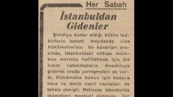 """A.C. Saraçoğlu'nun """"İstanbuldan gidenler"""" başlıklı yazısı"""