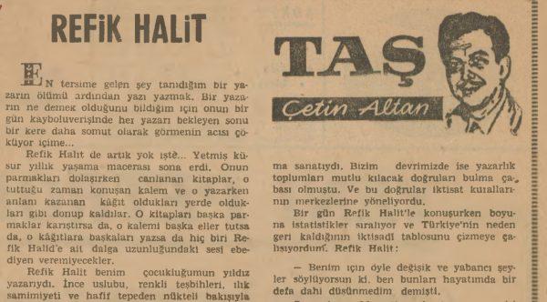 Refik Halit'in vefatının ardından Çetin Altan'ın yazısı