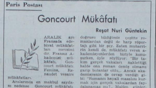 """Reşat Nuri'nin """"Goncourt Mükafatı"""" başlıklı yazısı"""