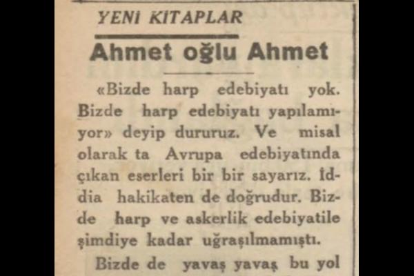 """H.F. takma adlı yazarın """"Ahmet oğlu Ahmet"""" adlı kitap eleştirisi"""