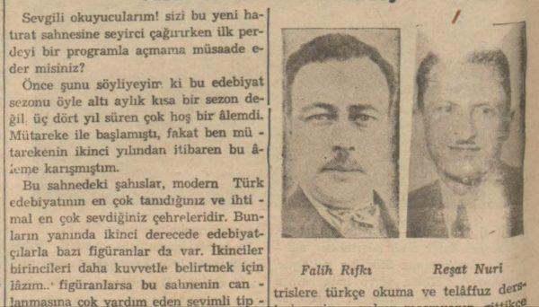 """Halit Fahri'nin """"Kadıköyünde 3-4 yıl süren bir edebiyat sezonu"""" başlıklı yazısı"""