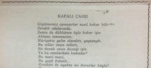 """Orhan Veli'nin """"Kapalı Çarşı"""" adlı şiiri"""