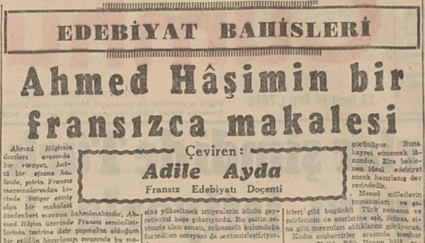 """Adile Ayda'nın """"Ahmet Hâşim'in bir Fransızca makalesi"""" başlıklı yazısı"""