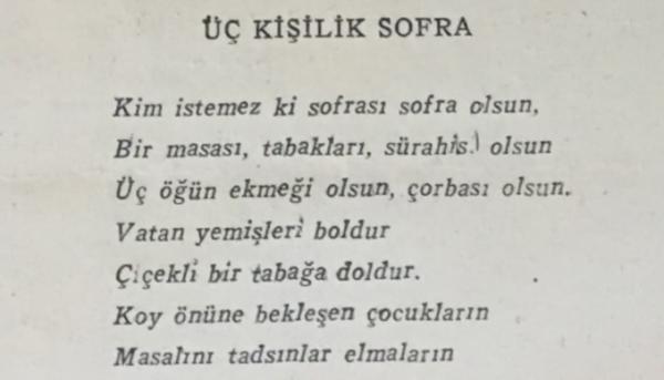 """Ceyhun Atuf Kansu'nun """"Üç kişilik sofra"""" adlı şiiri"""