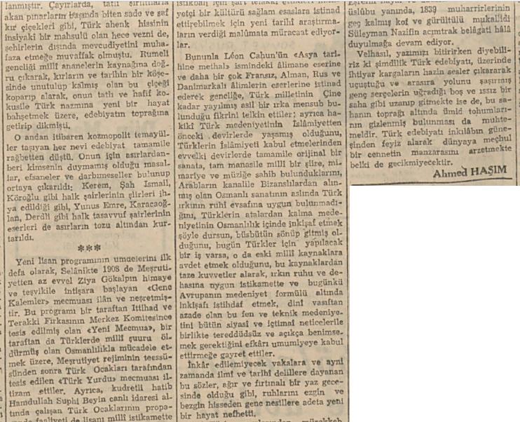 Ahmet Haşim'in 1 Ağustos 1924 tarihli Mercure de France dergisi'nin 627. sayısında yayınlanan Fransızca makalesinin Türkçe çevirisi.