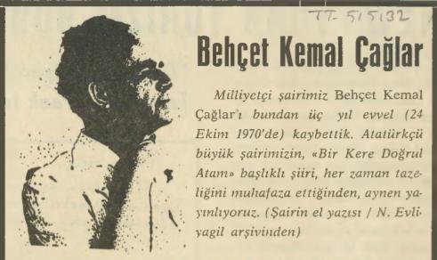 """Behçet Kemal Çağlar'ın kendi el yazısından """"Bir Kere Doğrul Atam"""" şiiri"""